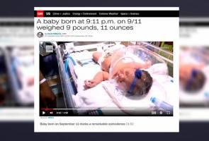 Bayi lahir jam 9:11 pagi, 11 Sept, dengan berat 9.11 paun