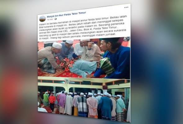 Peneroka Felda meninggal selepas laung azan
