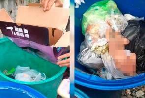 Bayi masih bernyawa disumbat dalam kotak, dibuang dalam tong sampah