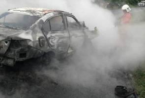 Wanita rentung dua kenderaan bertembung dalam kemalangan