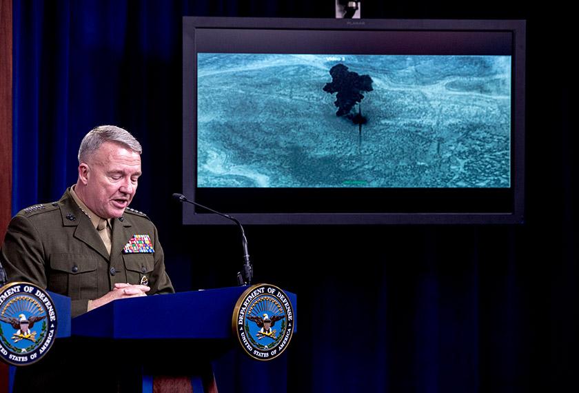 Video serbuan terhadap Abu Bakr al-Baghdadi ditunjukkan ketika McKenzie bercakap kepada media di Pentagon, Washington, 30 Okt, 2019. (Foto AP)