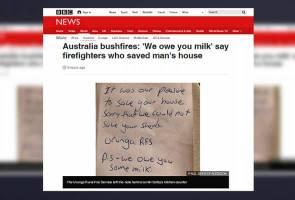 """""""Maaf, kami hutang anda susu"""" - kata petugas bomba selepas selamatkan rumah dalam kebakaran hutan di Australia"""