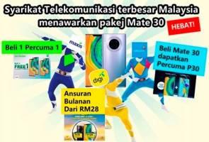Pakej menarik Celcom, Digi & Maxis untuk Huawei Mate 30, Mate 30 Pro sempena kelarisan kempen pra-tempahan