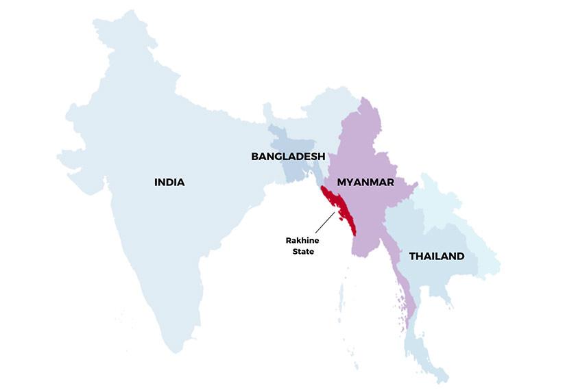 Peta yang menunjukkan kedudukan Rakhine dalam Myanmar. Foto Ceritalah