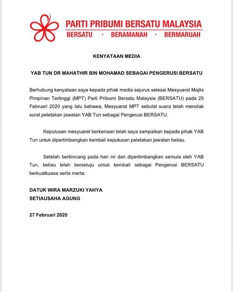 Tun Dr Mahathir Mohamad resumed his post as Bersatu chairman, three days after vacating the post.