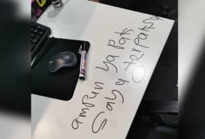 """Ampun ya Pak, saya terpaksa..."" - Perompak tinggal nota selepas pecah pejabat Ustaz Ebit Liew"
