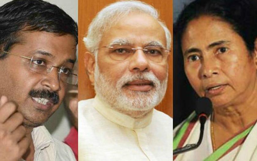 Pemimpin anti-BJP, dari kiri, Arwind Kejriwal, Narendra Modi (tengah) dan Menteri Utama Bengal Barat Mamata Banerjee (kanan). Foto India.com/Ceritalah