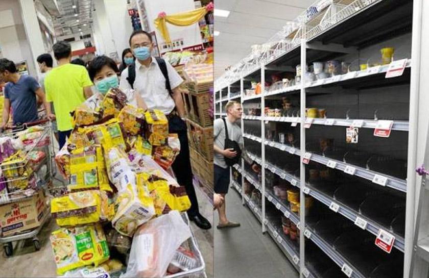 Pasaraya di Johor jadi mangsa akibat pembelian 'panik' warga Singapura. - Foto Sinar