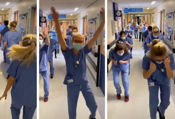 Video berkenaan tular sehingga mencetus trend dalam kalangan petugas barisan hadapan di NHS