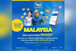 Rakyat Malaysia boleh tuntut insentif RM50 ePENJANA dengan Touch n Go eWallet