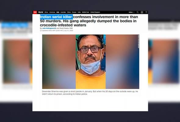 Polis India tahan pembunuh bersiri, korbankan lebih 50 pemandu teksi, jual organ dalaman