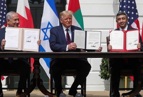 Trump saksi termeterainya perjanjian damai Israel, Bahrain, UAE