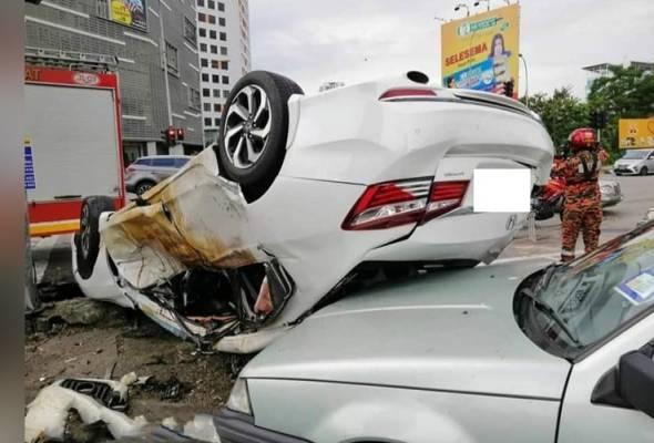 Pemandu Myvi putih rempuh dua kereta positif dadah