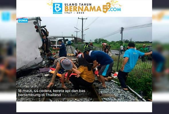 18 maut, 44 cedera, kereta api dan bas bertembung