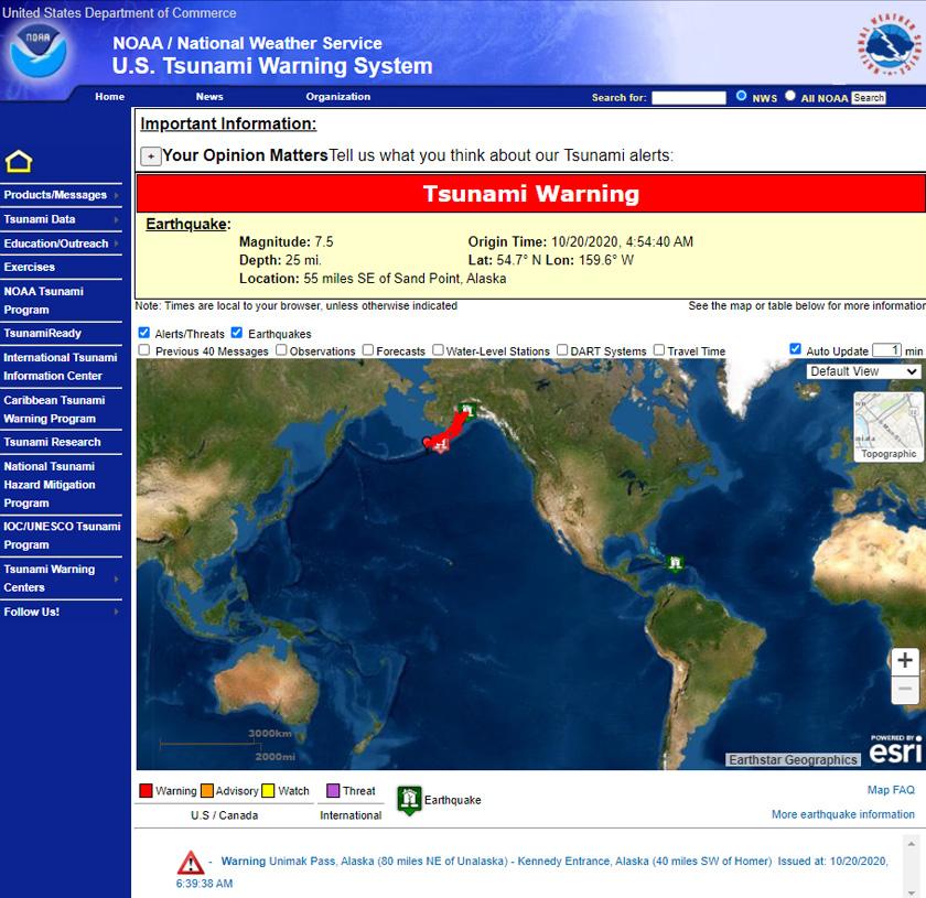 Amaran tsunami yang dikeluarkan