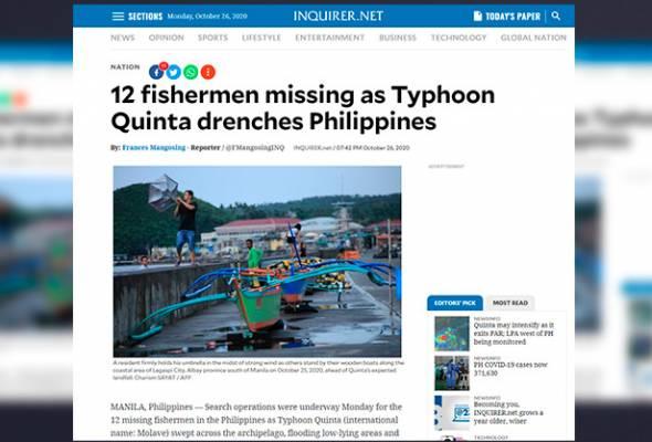Taufan Molave badai Filipina, ribuan penduduk terjejas