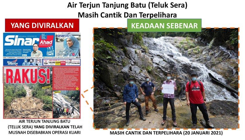 Gambar yang merujuk kepada kerosakan kepada Air Terjun Tanjung Batu (Teluk Sera) adalah kurang tepat dan mengelirukan. - Foto KASA