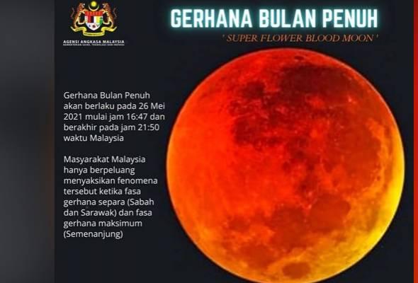 Gerhana: Fenomena 'bulan berdarah' bermula petang ini