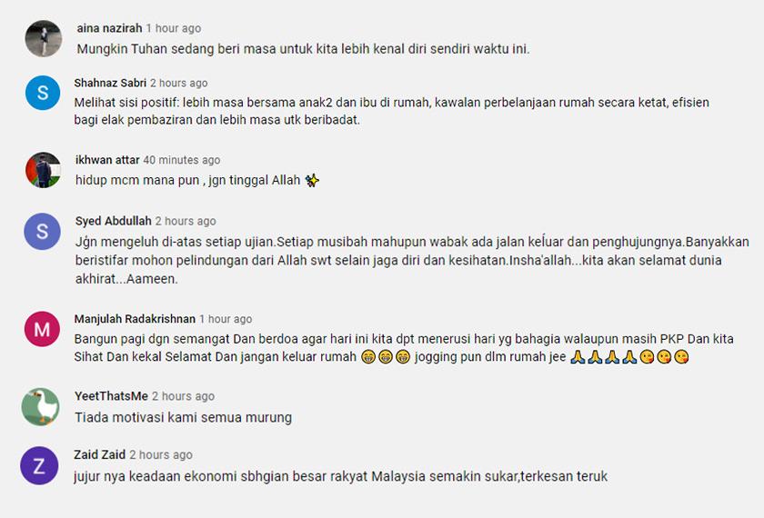 Antara komen pengguna di media sosial tentang motivasi yang boleh mereka kongsikan kepada umum sepanjang tempoh PKP ini.